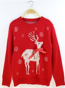 Red Crew Neck Long Sleeves Snowflake Printed Ugly Christmas Sweaters