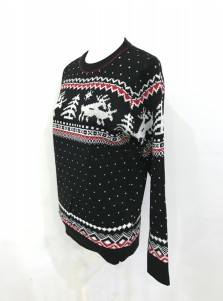 Black Crew Neck Reindeer Printed Cheap Ugly Christmas Sweaters