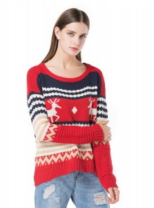 Multi Color Crew Neck Long Sleeves Snowflake Chenille Christmas Sweaters