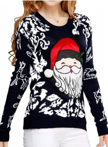 Black Crew Neck Santa Printed Christmas Womens's Ugly Sweaters