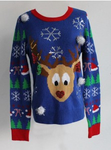Multi Color Crew Neck Long Sleeves Reindeer Ugly Christmas Sweaters