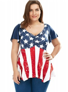 Star Striped Patriotic Plus Size T-Shirt