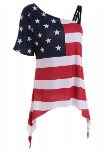 Oblique Neck Asymmetry American Flag Tee