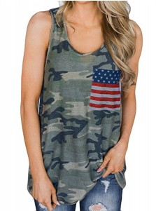 American Flag Patchwork Patriotic Camouflag Tank