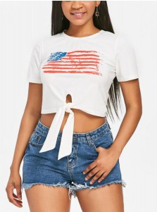 Bow Front American Flag Print Cropped T-Shirt