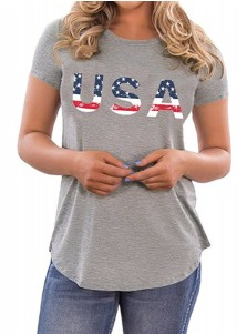 USA Print 4th of July Patriotic Grey T-Shirt