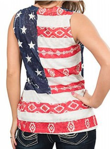 Star Geometry Print V-Neck Patriotic Tank Top