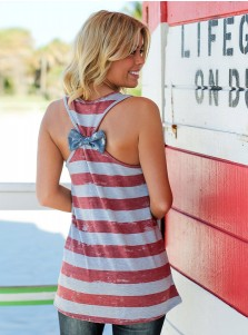 Patchwork Star Striped Bow Back Patriotic Tank Top