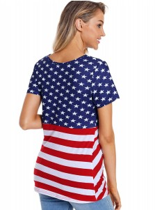 Ruffles Round Neck Striped Star Print Patriotic T-Shirt
