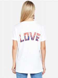 Letter Eagle Print V-Neck White Patriotic T-Shirt