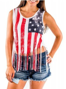 Tassels American Flag Print Scoop Neck Patriotic Tank Top