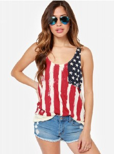 Ruffles Back Star Print Striped Patriotic Tank Top