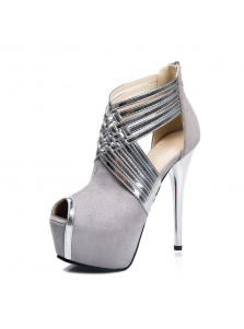 Women's Ultra-High Heel Back Zipper Black/Grey Prom Shoes