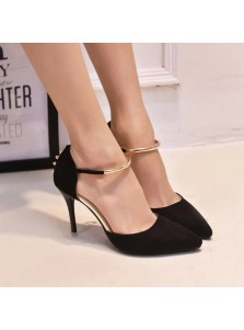 Women's High Heel Buckle Black/Grey Prom Shoes