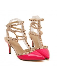 Women's Mid-Heel Buckle Black/Coral Prom Shoes