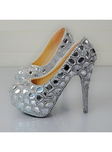 Women's High/Ultal-High Heel Silver/Grey Prom Shoes