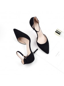 Women's Mid-Heel Buckle Apricot/Black Suede Prom Shoes