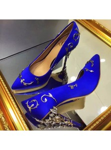 Women's High Heel Royal Blue/Pink Real Leather Prom Shoes with Beading