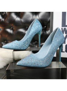 Women's High Heel Beading Sequins Black/Blue Prom Shoes
