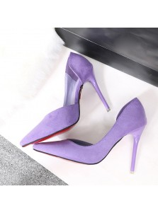 Women's High Heel Black/Lavender Suede Prom Shoes