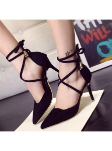 Women's High Heel Tie Black Matte Leather Prom Shoes