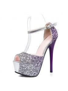 Women's Ultra-High Heel Buckle Grape Sequins Prom Shoes