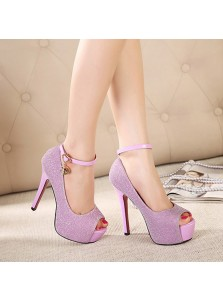 Women's Ultra-High Heel Peep Toe Prom Shoes with Buckle