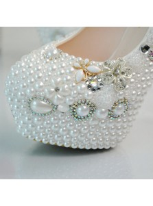 Ultra-High Heel Prom Shoes with Beading Bow Pearls