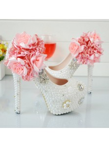 Ultra-High Heel with Pearls Rhinestones Handmade Flowers Prom Shoes