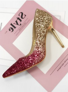Burgundy Ombre Pointy Toe Stiletto Pumps Heels with Sequins