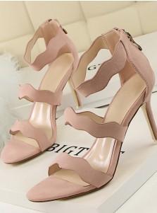 Pink Open Toe Stiletto Ankle Stap Zipper Sandals