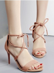 Pink Open Toe Stiletto Strappy High Heels