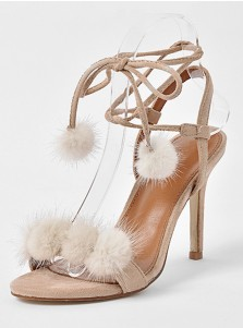 Grey Open Toe Stiletto Ankle Strap Sandals with Pom