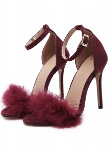 Black Open Toe Stiletto Ankle Strap Sandals with Feather
