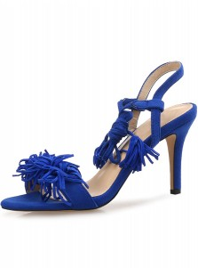 Blue Open Toe Stiletto Lace-Up Sandals with Fringe