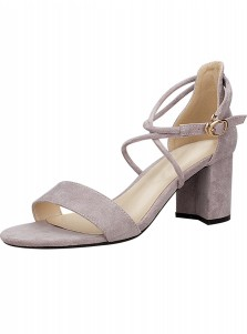 Grey Open Toe Two Part Ankle Strap Chunky Heels