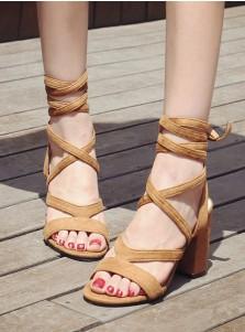 Khaki Open Toe Nubuck Lace-Up Chunky Sandals