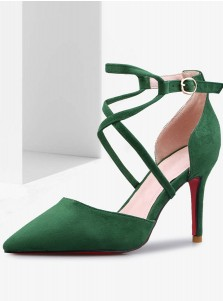 Green Pointy Toe Ankle Strap Stiletto Heels