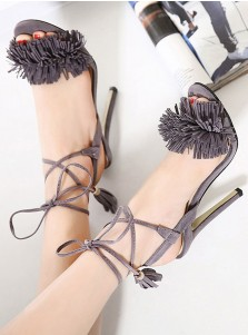 Grey Open Toe Stiletto Strappy Sandals with Fringe