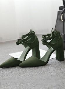 Green Pointy Toe Sedue Lace-Up Chunky Heels