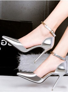 Silver Pointy Toe Stiletto Ankle Straps Pumps Heels