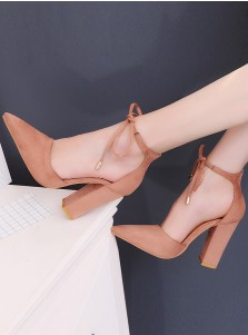 Khaki Pointy Toe Nubuck Ankle Strap Chunky Heels
