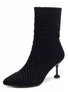 Stiletto Heel Black Velvet Mid Calf Boots