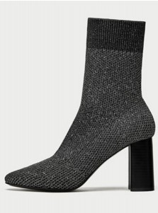 Chunky High Heel Grey Mid Calf Womens Boots