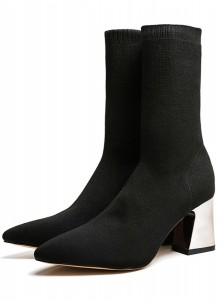 Chunky High Heel Black Mid Calf Womens Boots