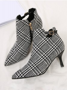 Plaid Stiletto Heel Black Ankle Boots