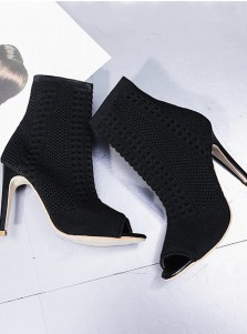 Peep-Toe Stiletto Heel Black Ankle Boots