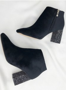 Sparkly Chunky High Heel Black Ankle Womens Boots