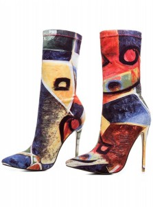 Stiletto Heel Colorful Mid Calf Boots For Women