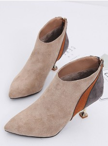 Stiletto Heel Khaki Short Boots For Women